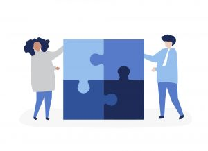 Illustration of women solving a puzzle